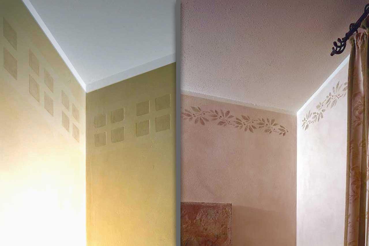 wandgestaltung mit schablonentechnik. Black Bedroom Furniture Sets. Home Design Ideas